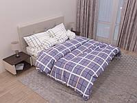 Двуспальный комплект постельного белья с евро простыней «Небесные квадраты» из бязи голд
