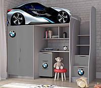 """Ліжко горище """"BMW сірий"""" серія бренд"""