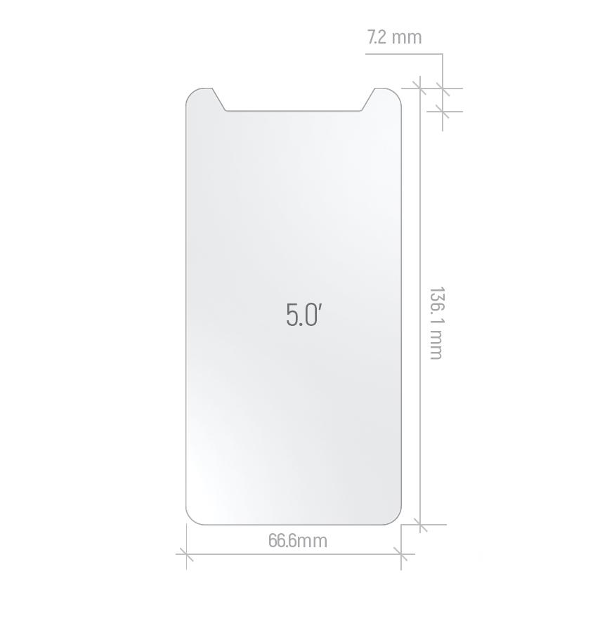 """Защитное стекло универсальное 5"""" (0,3 x136.1 x 66.6 mm, 2.5D)"""