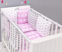 """Комплект постільних речей в ліжечко (17 предметів) """"Розетта"""" (рожевий/білий) ТМ """"Хатка"""", фото 1"""