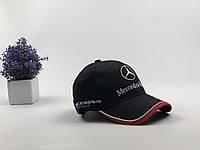 Кепка бейсболка Авто Mercedes-Benz (черная+красная полоса)