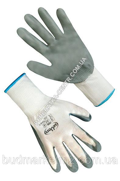 """Перчатки синтетические белые с серым нитриловым покрытием 69260 """"б"""""""