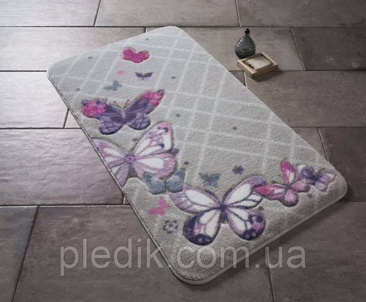 Коврик для ванной 57х100 Confetti серій с бабочками Butterfly Plaid Purple