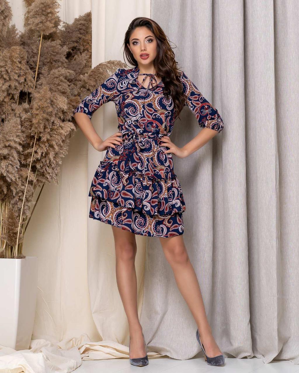 Платьес легкое, короткое, с оборкой 42,44,46,48
