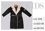 Пальто+пояс, кашемир, эко мех, на подкладе, черный, Моне, р.164, фото 8