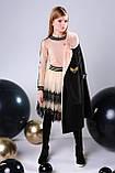Пальто+пояс, кашемир, эко мех, на подкладе, черный, Моне, р.164, фото 5