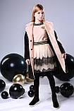 Пальто+пояс, кашемир, эко мех, на подкладе, черный, Моне, р.164, фото 4