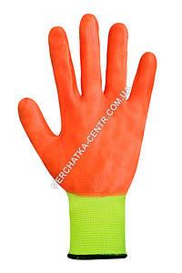 Перчатки синтетические салатовые с оранжевым нитриловым покрытием