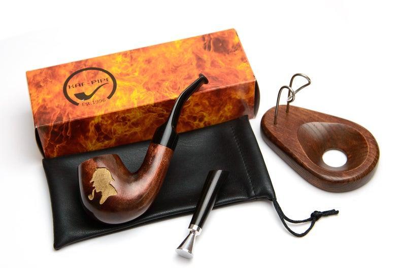 Курительная трубка подарочный набор - Трубка Шерлока Холмса KAF226 Bent деревянная с подставкой и тампером