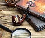 Курительная трубка подарочный набор - Трубка Шерлока Холмса KAF226 Bent деревянная с подставкой и тампером, фото 4