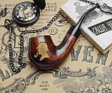 Курительная трубка подарочный набор - Трубка Шерлока Холмса KAF226 Bent деревянная с подставкой и тампером, фото 8