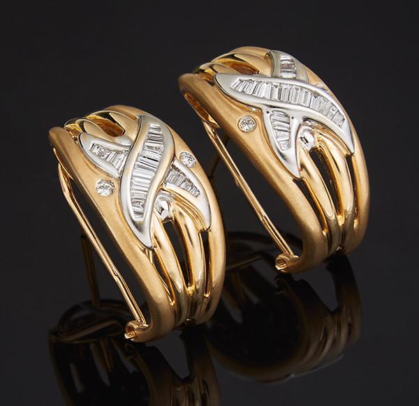 Жіночі сережки з жовтого золота з діамантами С41Л1№19