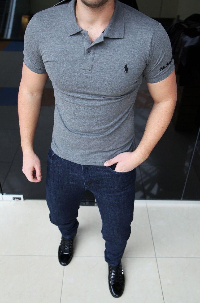 Мужская футболка Polo Ralph Lauren H0291 серая