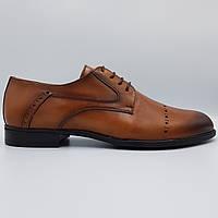 Мужские кожаные туфли дерби Luciano Bellini рыжие SH0043/43