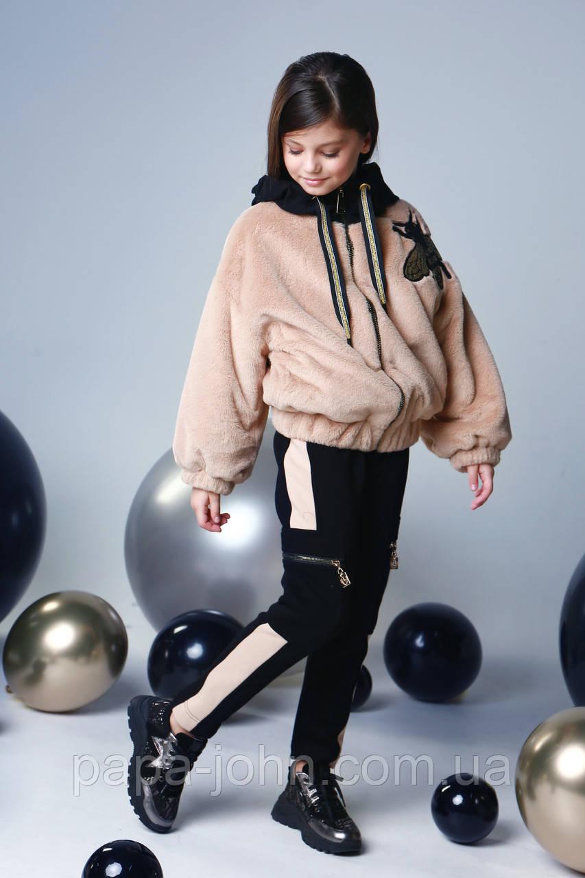 Курточка мех, утеплитель термоволокно, подклад микрофлис, бежевый, Моне, р.140,152