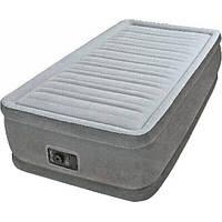 Кровать надувная одноместная с велюровым покрытием Intex Comfort-Plush Airbed 64412 с электронасосом 220В и су