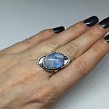 Лунный камень овальное кольцо с натуральным лунным камнем в серебре 17.5 размер, фото 2