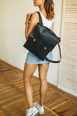 Женский  рюкзак из натуральной кожи черного цвета. Жіночій рукзак із натуральної шкіри
