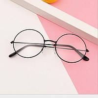 Имиджевые очки круглые с прозрачными стеклами - Черные