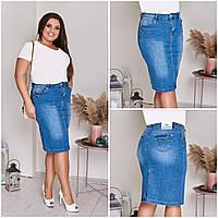 Джинсовая юбка женская одежда Голубая Большого размера