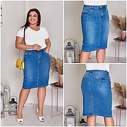 Юбка женская джинсовая Голубой Большого размера