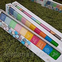 Дерев'яні дитячі кольорові кубики з літерами й цифрами(24шт.) ТМ Graisya