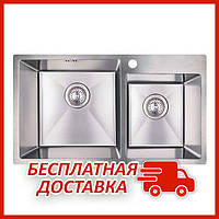 Двойная мойка для кухни из нержавейки Imperial S7843 Handmade 3.0/1.2 mm (IMPS7843H12) прямоугольная накладная