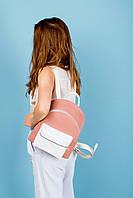 Женский рюкзак из натуральной кожи с карманом розового цвета