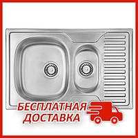 Двойная мойка для кухни из нержавейки ULA 7301 Micro Decor с (ULA7301DEC08) прямоугольная врезная с крылом
