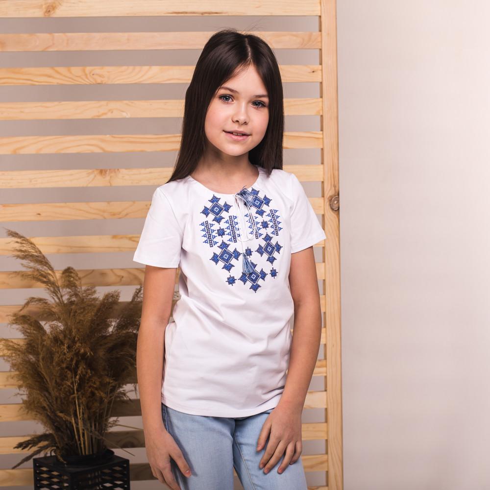 Вишиванка на дівчинку Moderika Зоряна біла з синьою вишивкою