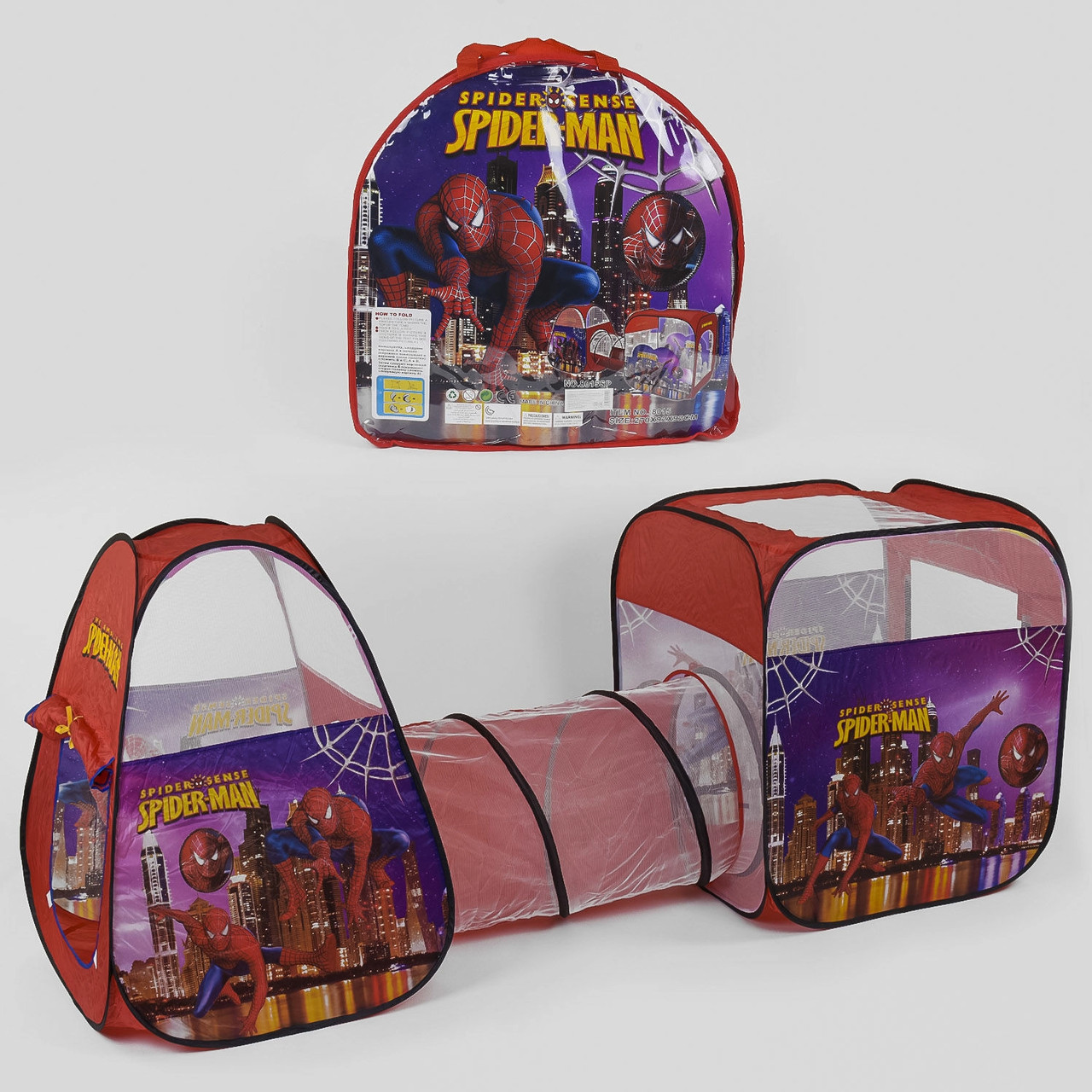 Дитячий ігровий намет з тунелем Супергерой Spider-Man 8015 SP, розмір 270*92*92 см