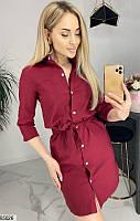 Платье женское весна-лето повседневного стиля стрейч-джинс 42-48 р.,цвет бордовый