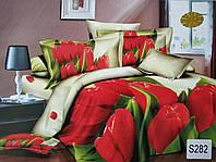 Сатиновое постельное белье евро 3D ELWAY S282