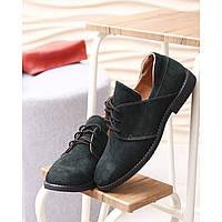 Женские туфли из натуральной замши темно-зеленого цвета
