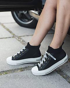 Женские трендовые кроссовки кеды Dior Volution черно-белого цвета