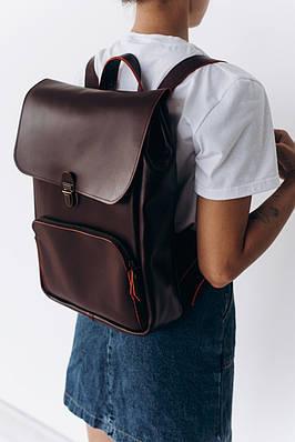 Женский рюкзак из натуральной кожи бордового цвета. Жіночій рукзак із натуральної шкіри