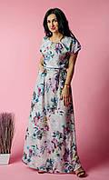 Длинное летнее женское платье в цветы, платье с поясом, молодежный сарафан в пол .