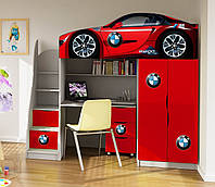 """Кровать чердак  """" BMW красный """" серия бренд"""