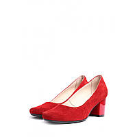 Женские туфли из натуральной замши красные на удобном каблуке