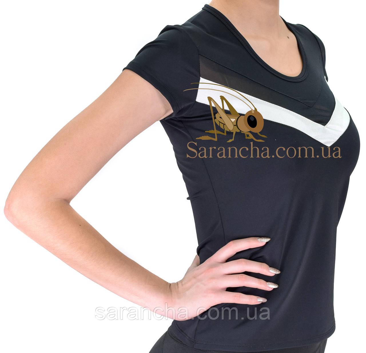 Женская футболка с белыми вставками для занятий спортом