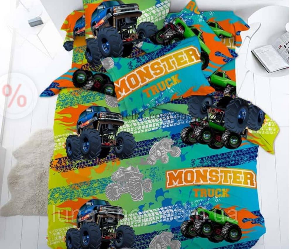 Детский полуторный комплект Монстры тракс/Trucks, ранфорс (хлопок)