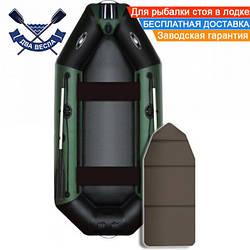 Надувная лодка Aqua Star B-275Н брызгоотбойник слань-книжка двухместная + комплект д/якоря на носу, баллон 35