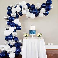 Арка из Воздушных Шаров Фотозона для Свадьбы, Дня Рождения, Вечеринки, Выпускного, Юбилея Синий цвет