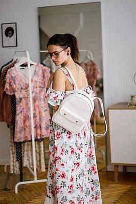 Женский рюкзак из натуральной кожи белого цвета. Жіночій рукзак із натуральної шкіри