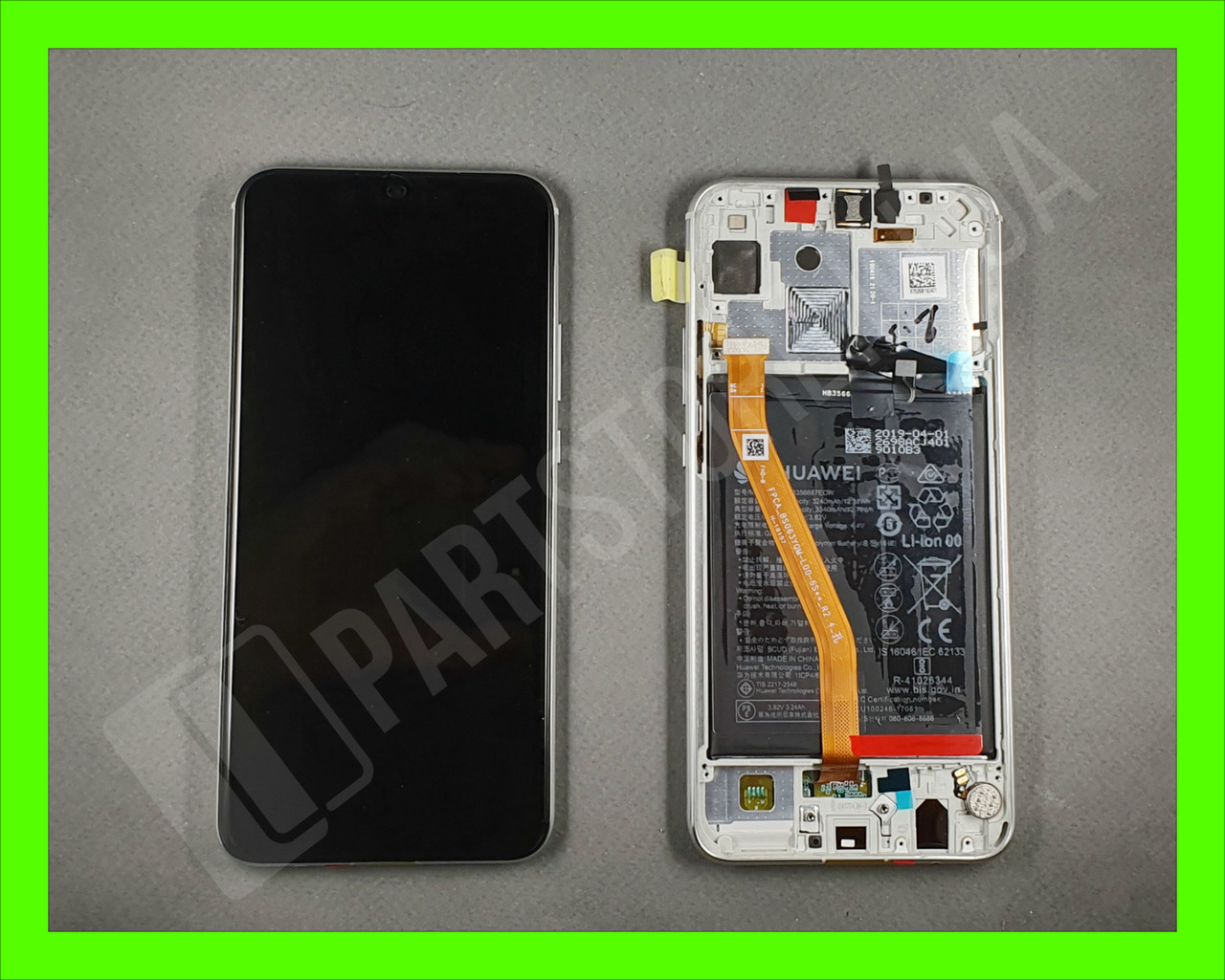 Дисплей Huawei P Smart plus White (02352BUK) сервисный оригинал в сборе с рамкой, акб и датчиками