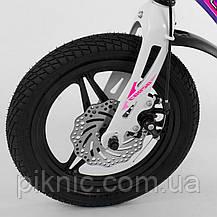 Велосипед 14 дюймів для дівчаток 4, 5 років. Магнієва рама. Дитячий 2-х колісний двоколісний Фіолетовий, фото 3