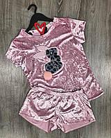 Розовая велюровая пижама футболка и шорты.