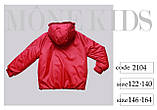 Курточка oversize, плащевка, эко мех, подклад эко мех, красный, Моне, р.146,152, фото 8