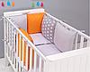 """Комплект постельных принадлежностей в кроватку (17 предметов) """"Фауна"""" (серый/оранжевый) ТМ """"Хатка"""""""