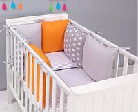 """Комплект постельных принадлежностей в кроватку (17 предметов) """"Фауна"""" (серый/оранжевый) ТМ """"Хатка"""", фото 1"""